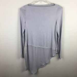 a.n.a. Boatneck Gray asymmetrical blouse